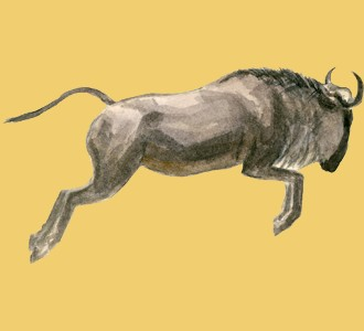 Accogli un animale della savana di specie gnu